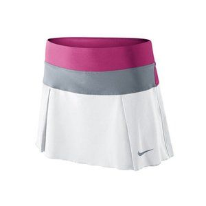 L Nike Victory Tennis Skirt White Pink Gray 621019